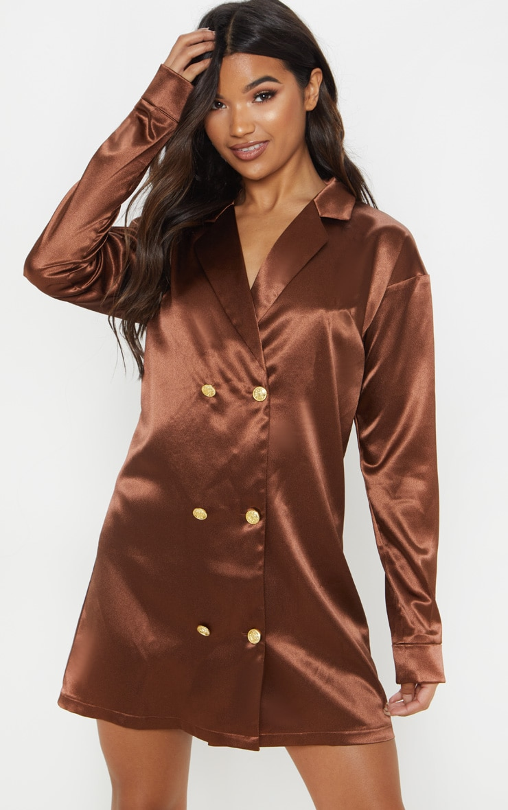 Chocolate Brown Satin Button Blazer Dress  by Prettylittlething