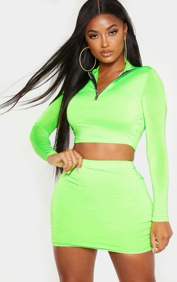 Shape Neon Lime Zip Detail Long Sleeve Crop Top 1