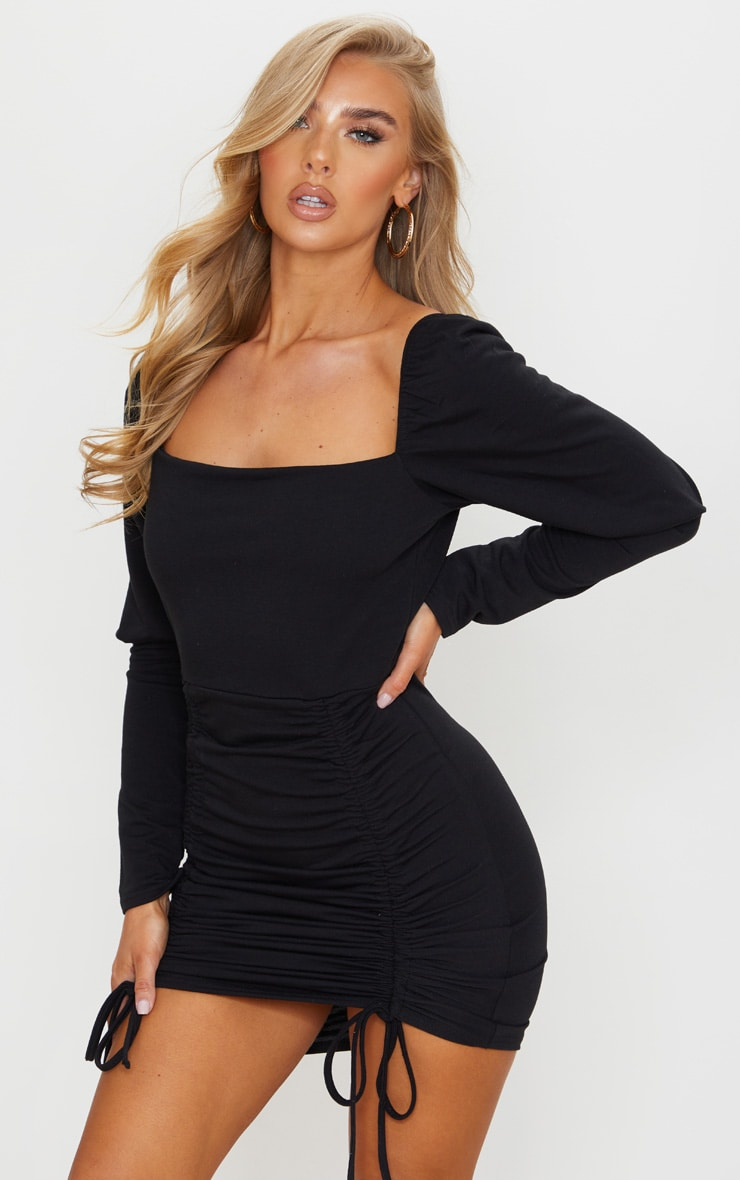 Black Sweat Puff Sleeve Ruched Bodycon Dress 1