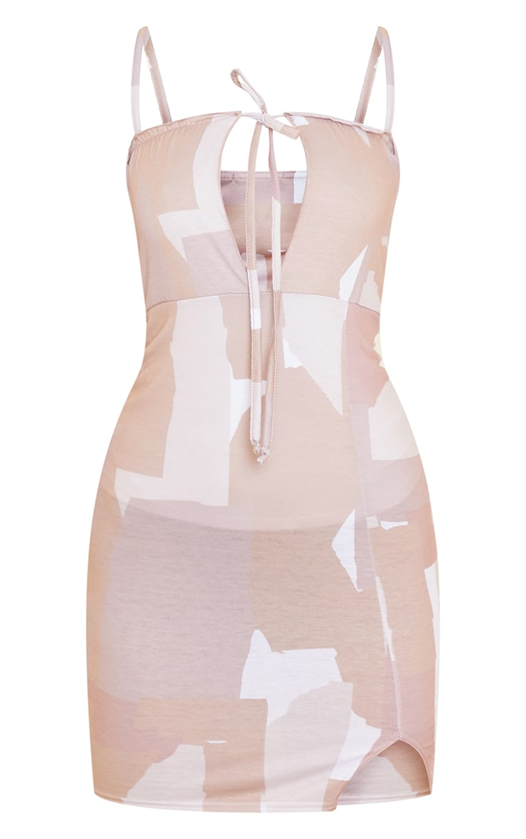 Abstract Print Tie Bust Strappy Split Front Shift Dress 5