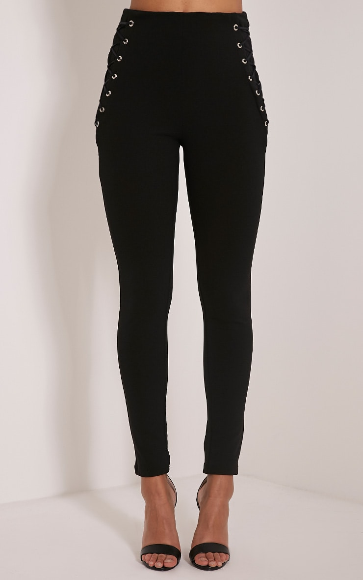 Amia Black Lace Up Pocket Trousers 2