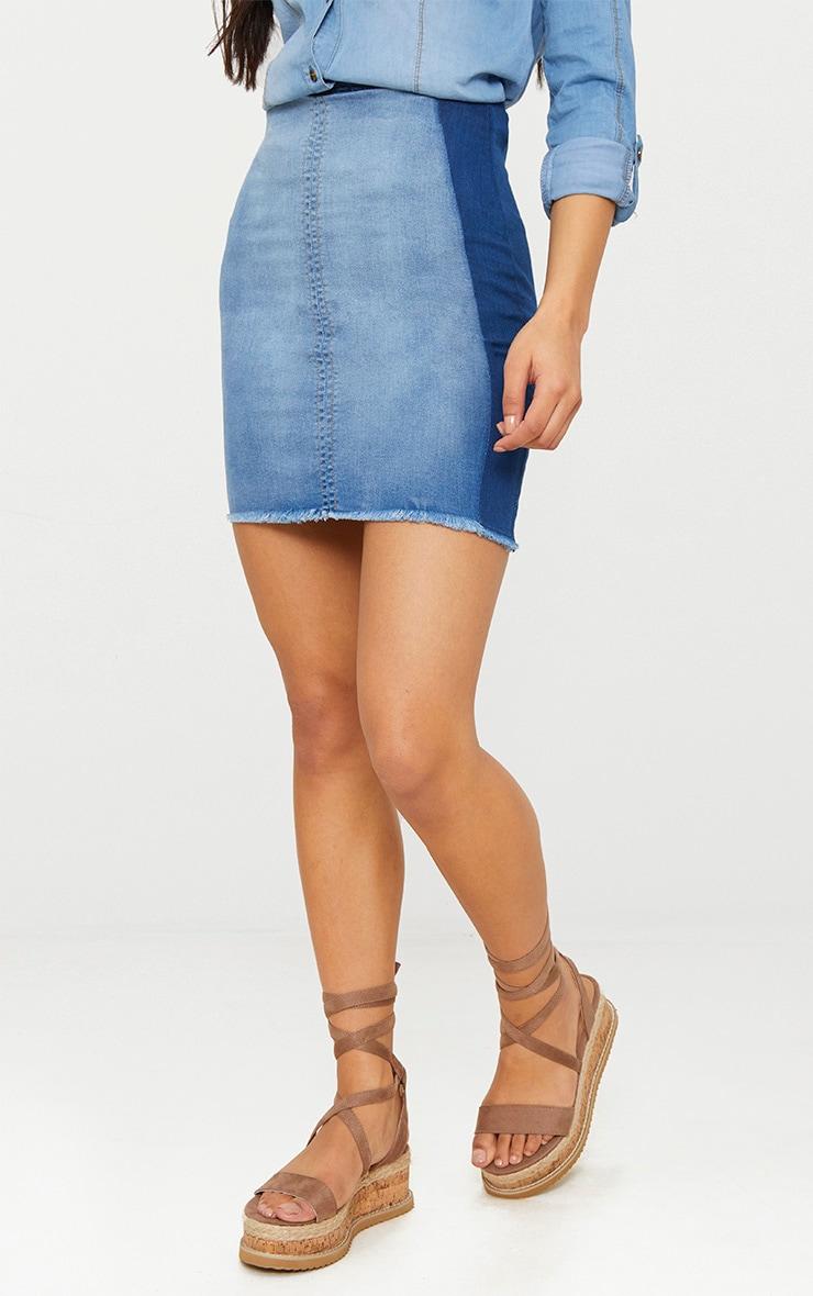 Mid Wash Contrast Stretch Denim Skirt 2