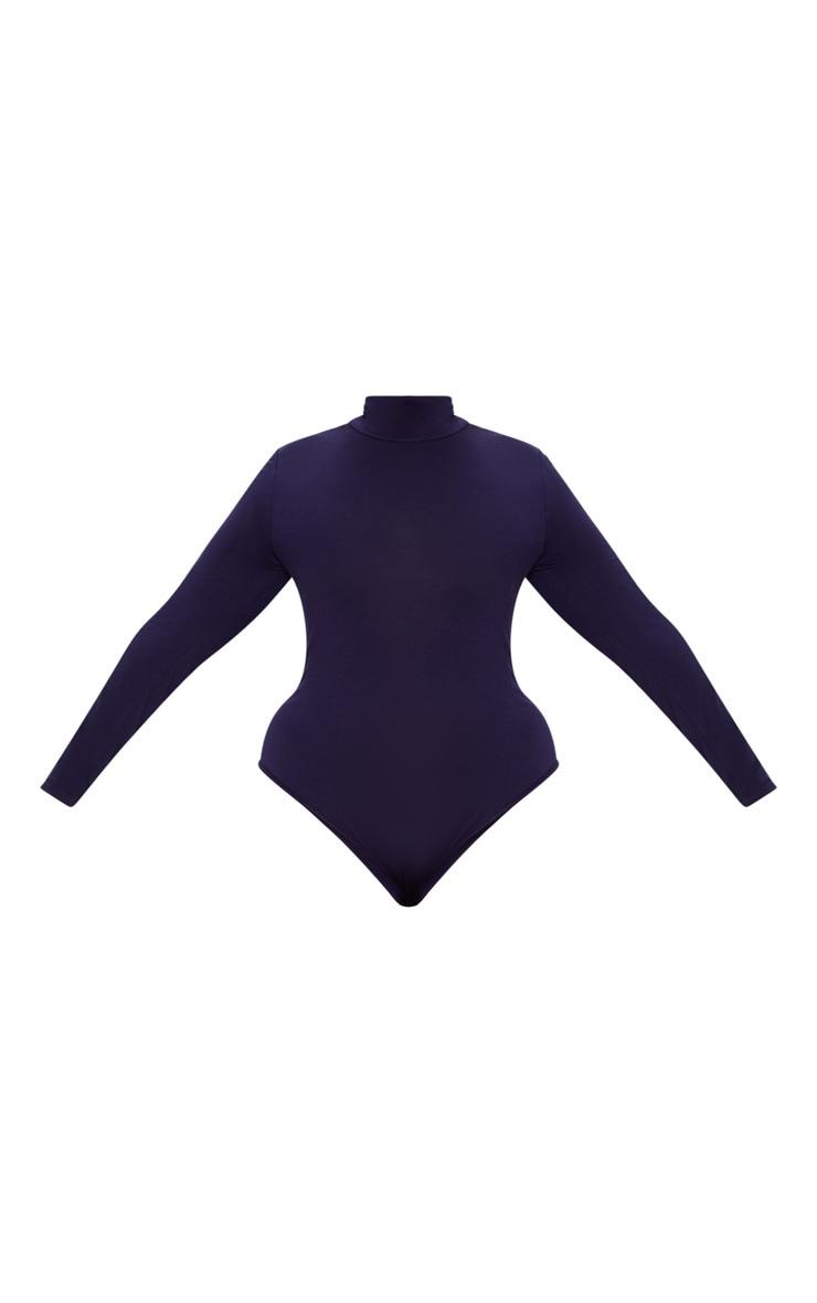 Plus Navy Roll Neck Long Sleeve Bodysuit 3
