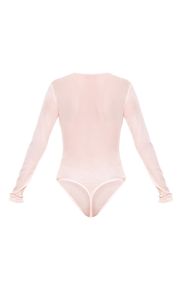 Nude HOT Applique Mesh Longsleeve Thong Bodysuit 5