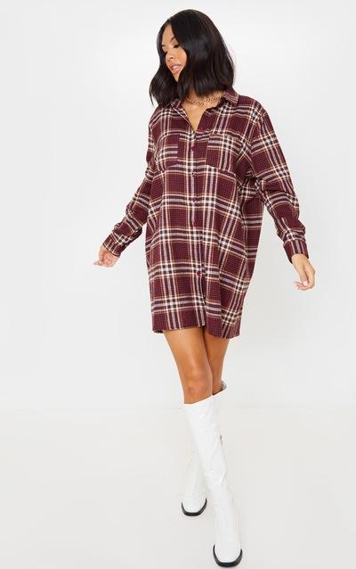 Burgundy Check Print Pocket Detail Oversized Shirt Dress