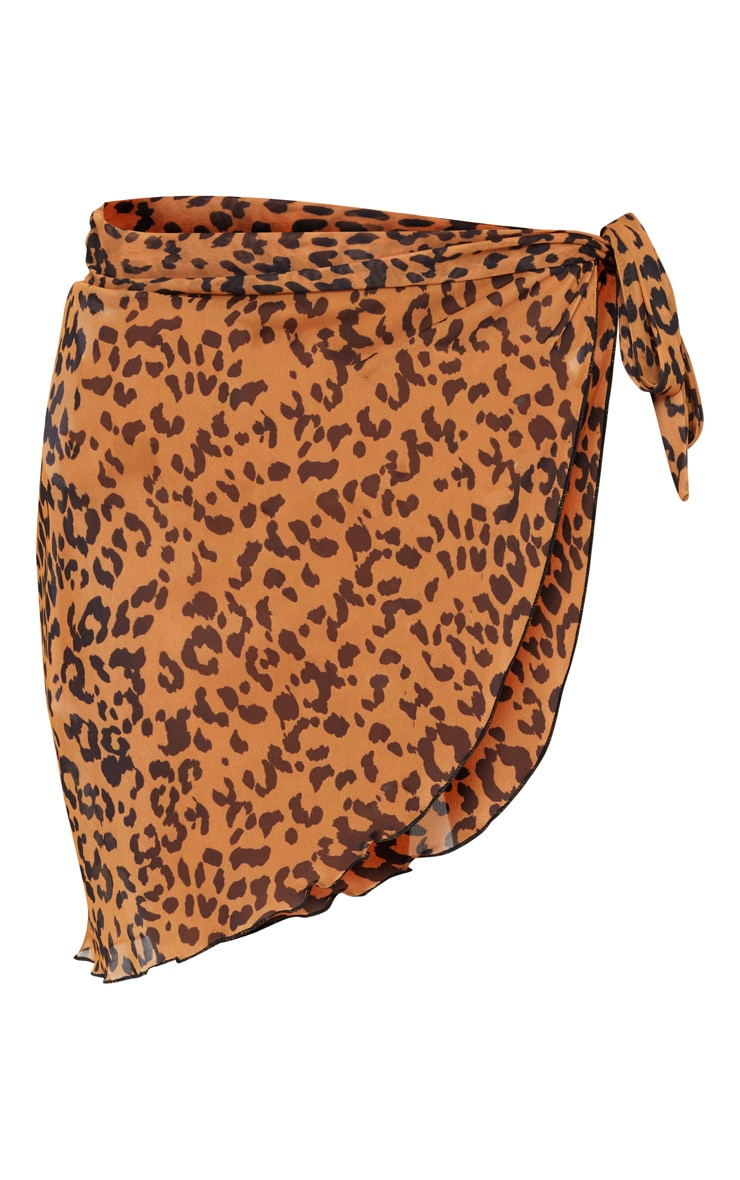 Orange Cheetah Chiffon Sarong 3