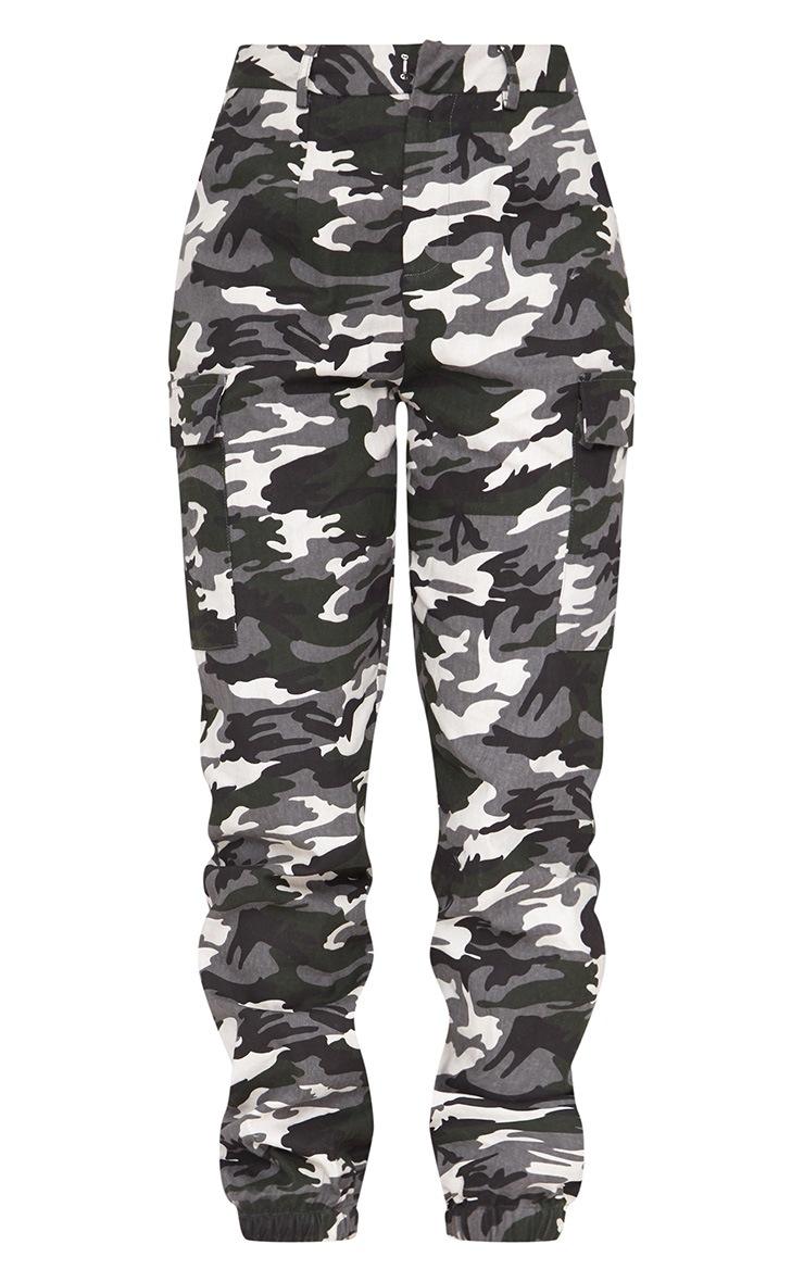 Grey Camo Print Cargo Pants 3