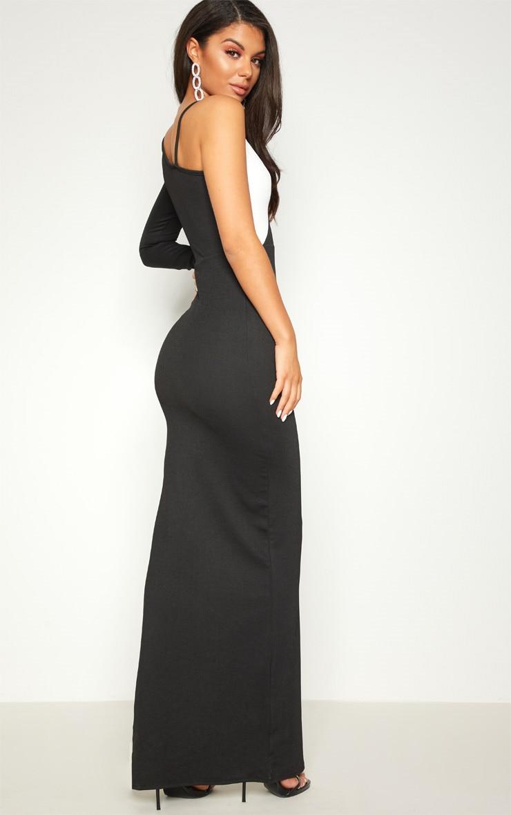 Black Colour Block Asymmetric Sleeve Maxi Dress 2