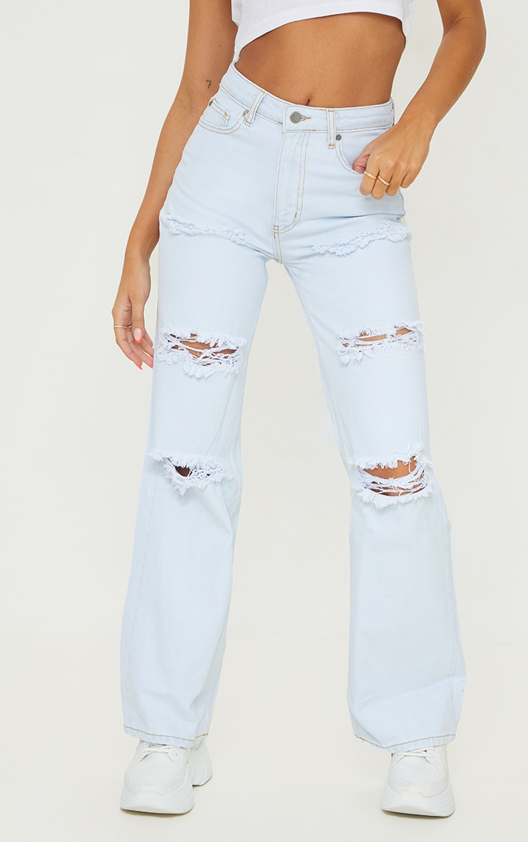 Light Bleach Wash Distressed Wide Leg Jean 2