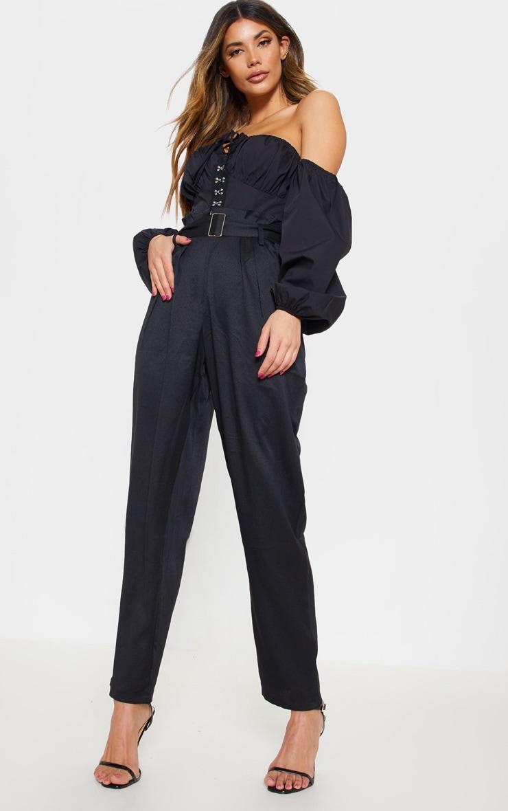 Black Paperbag Belted Waist Tapered  Leg Pants 1