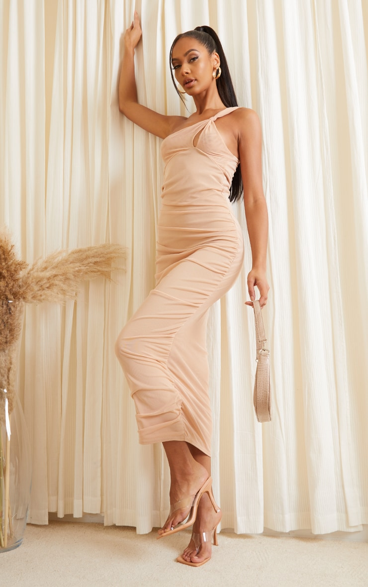 Stone Mesh One Shoulder Knot Detail Ruched Midaxi Dress 3