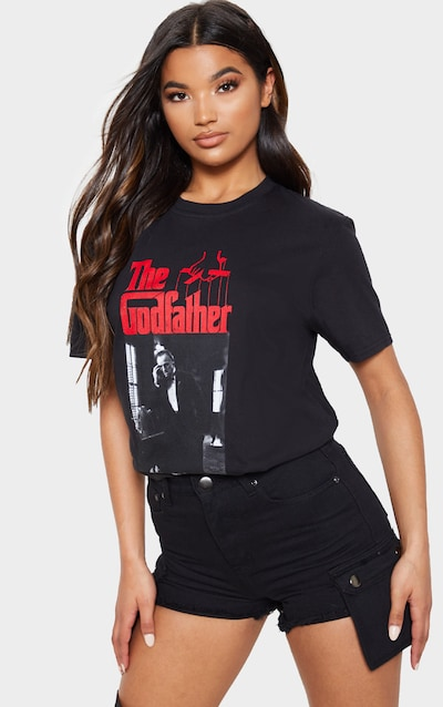 Black The Godfather Printed Oversized T Shirt
