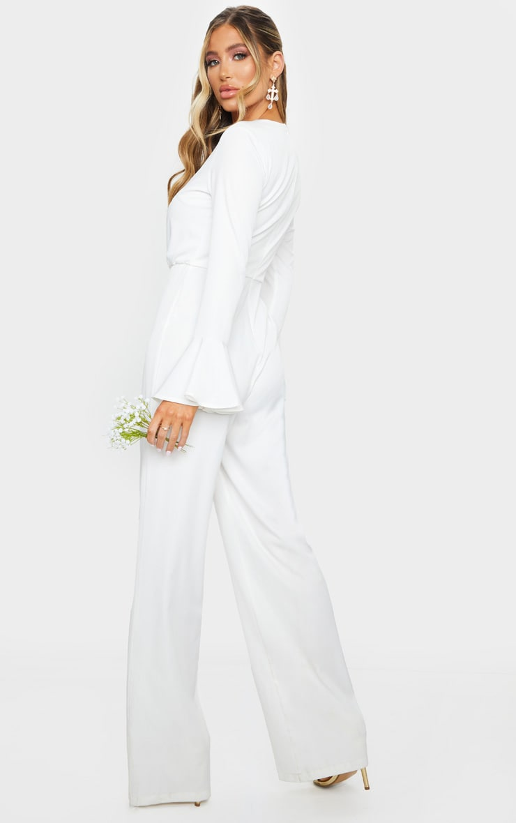 White Frill Sleeve Wide Leg Jumpsuit 2