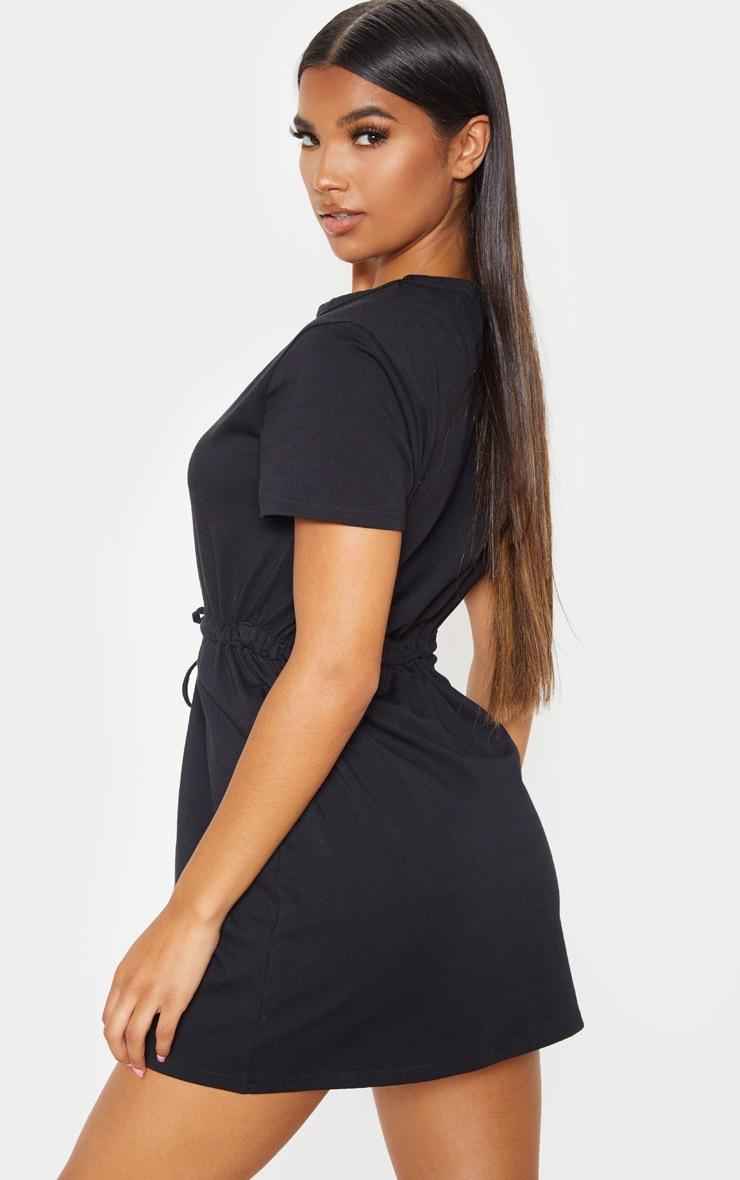 Black Drawstring Tie Waist T Shirt Dress 2