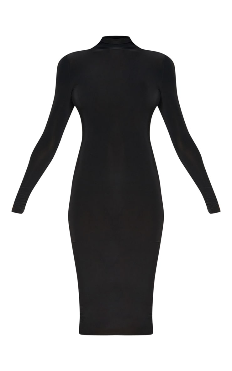 Tall Black High Neck Slinky Midi Dress 3