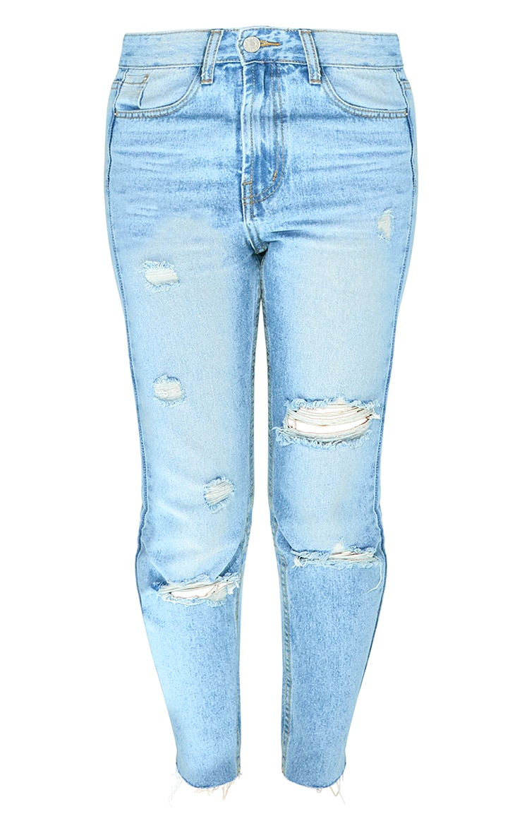 Petite Light Wash Distressed Mom Jeans 6