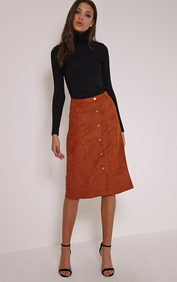 Zahara Rust Faux Suede Button Down Midi Skirt 1