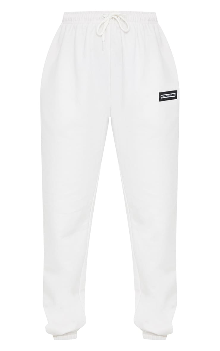 PRETTYLITTLETHING Ecru Badge Detail Casual Joggers 5
