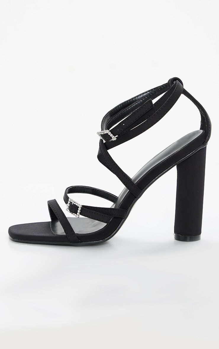 Black Cylinder Heel Diamante Buckle Strappy Sandal 4