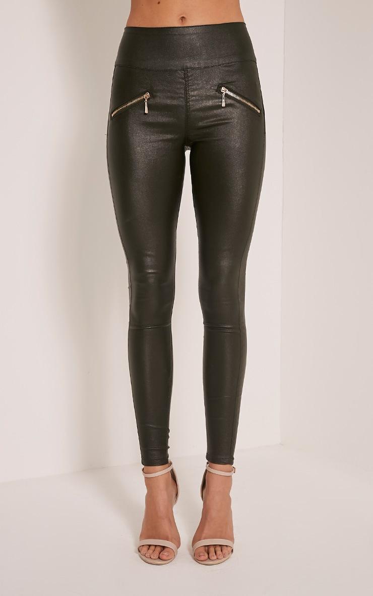 Jamima Khaki Zip Back Super Skinny Coated Trousers 2