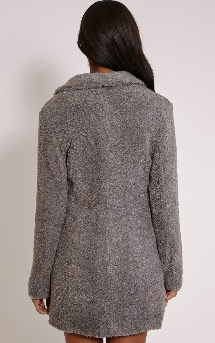 Louise Grey Bobble Knitted Coat 2