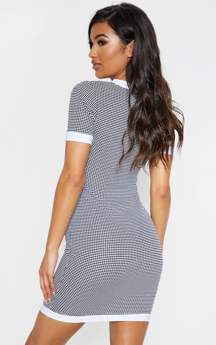 Mono Houndstooth Square Neck Fitted Mini Dress 2