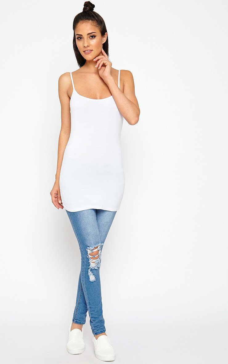 Basic White Jersey Vest Top 3