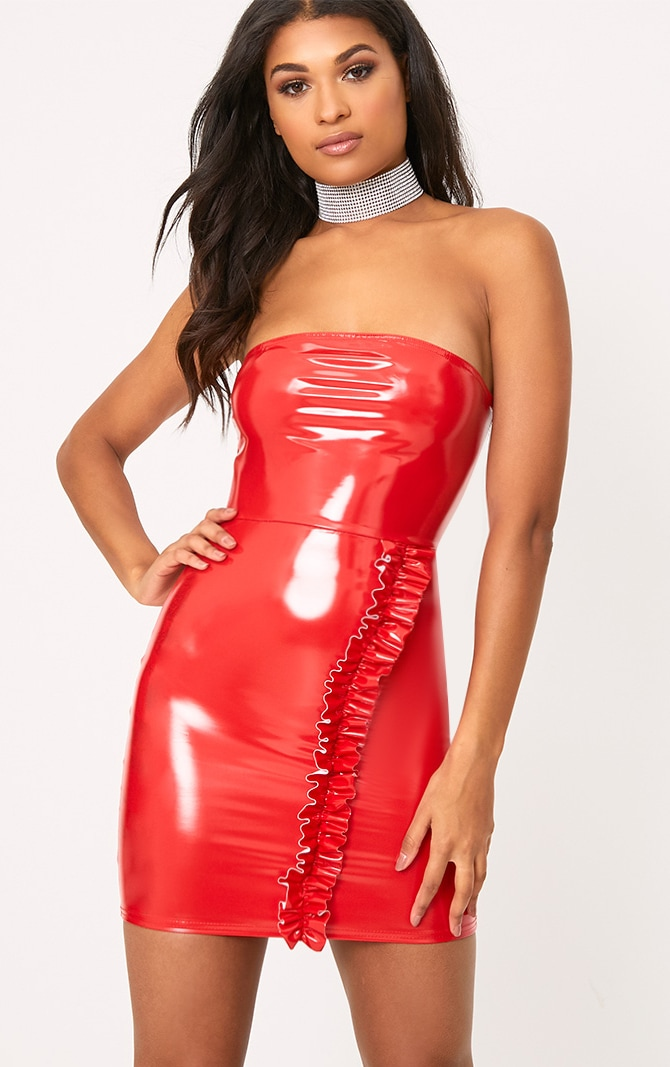 Red High Shine PU Frill Bandeau Bodycon Dress 1