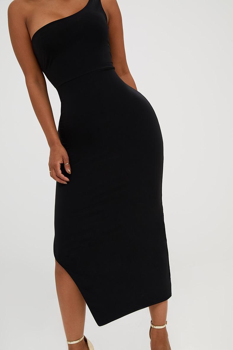 Shape Black One Shoulder Slinky Midaxi Dress 5
