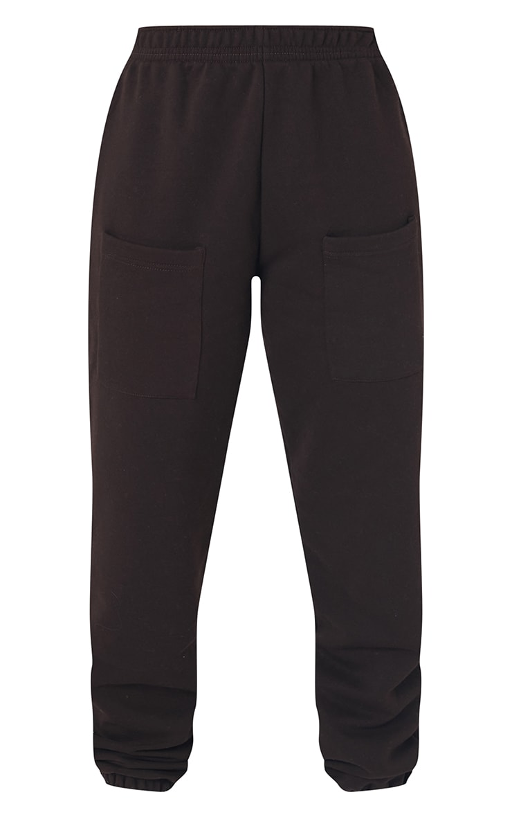 Tall Chocolate Brown Pocket Thigh Casual Joggers 5
