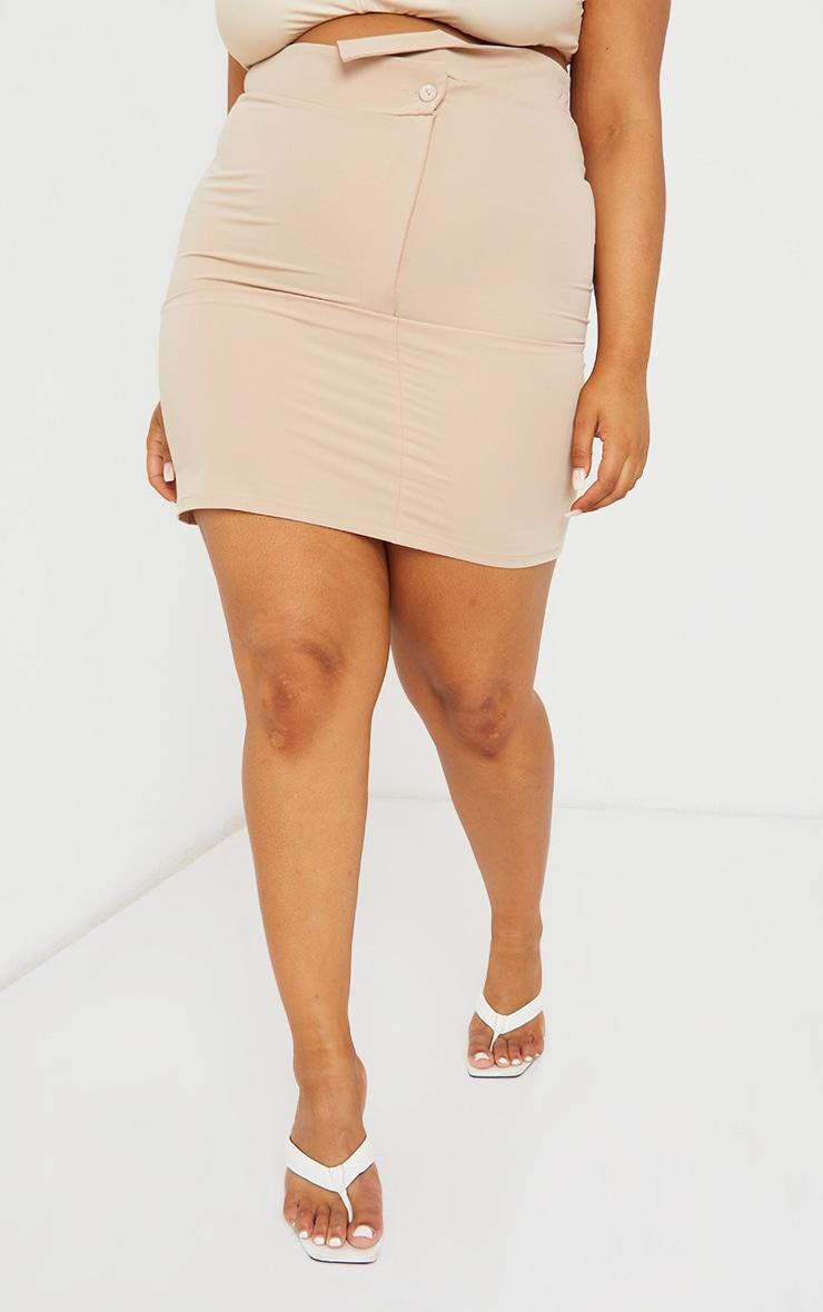Plus Cream Asymmetric Woven Skirt 2