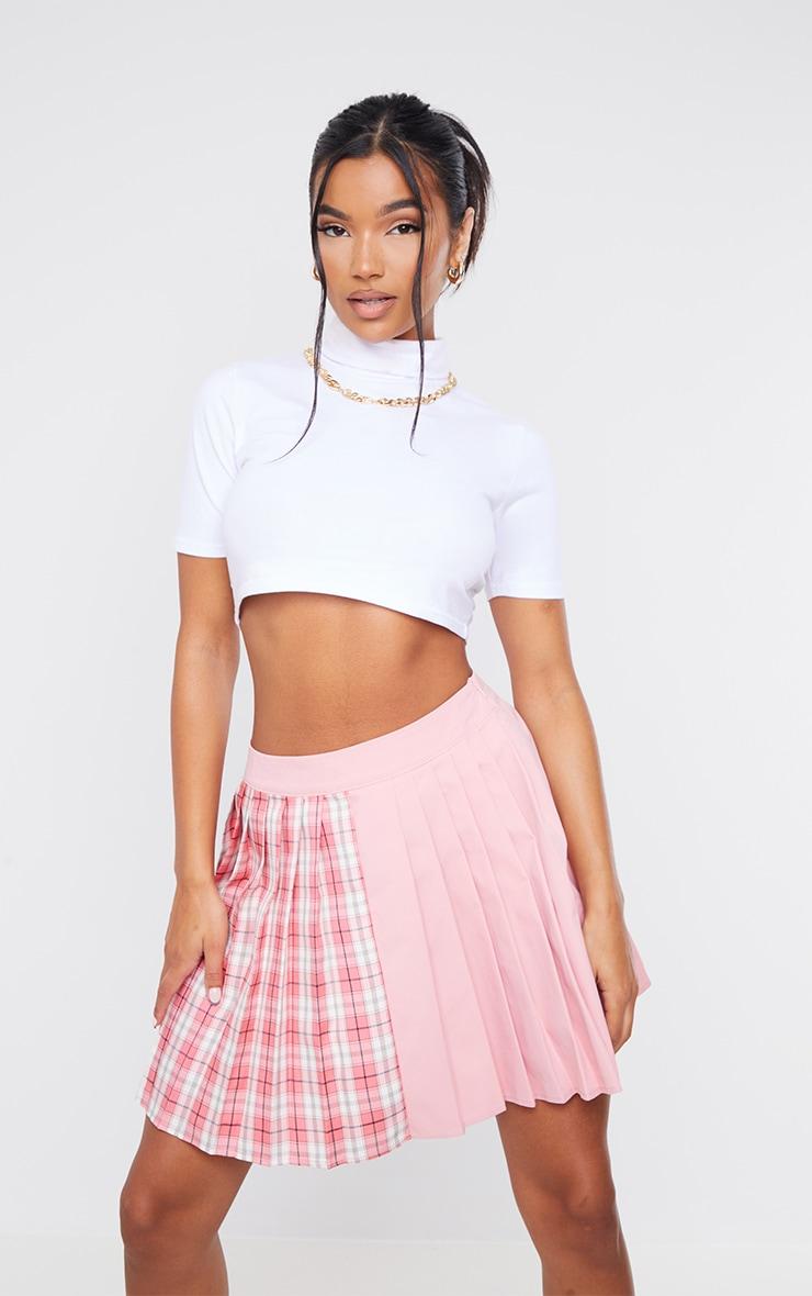 Pink Check Woven Pleated Skater Skirt 4