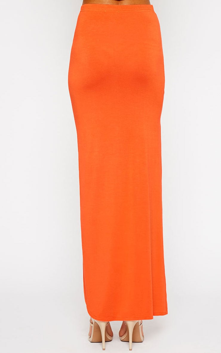 Ashlene Orange Curve Split Jersey Maxi Skirt 4