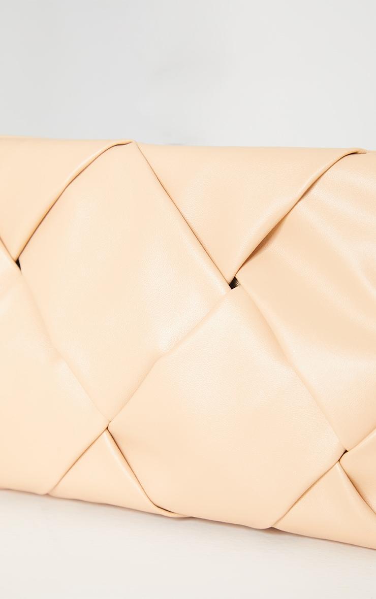 Nude Oversized Weave Clutch Bag 4