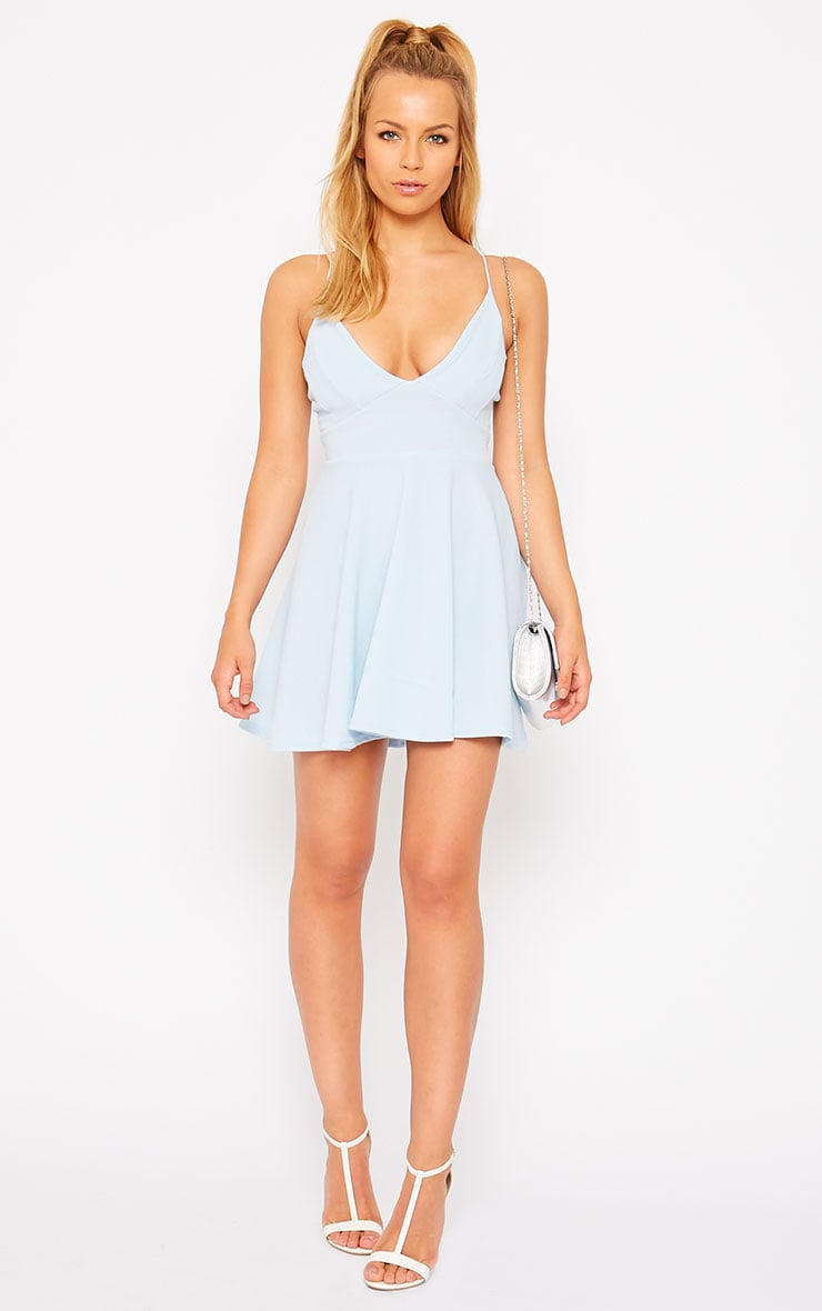 Luccie Blue Crepe Skater Dress 3