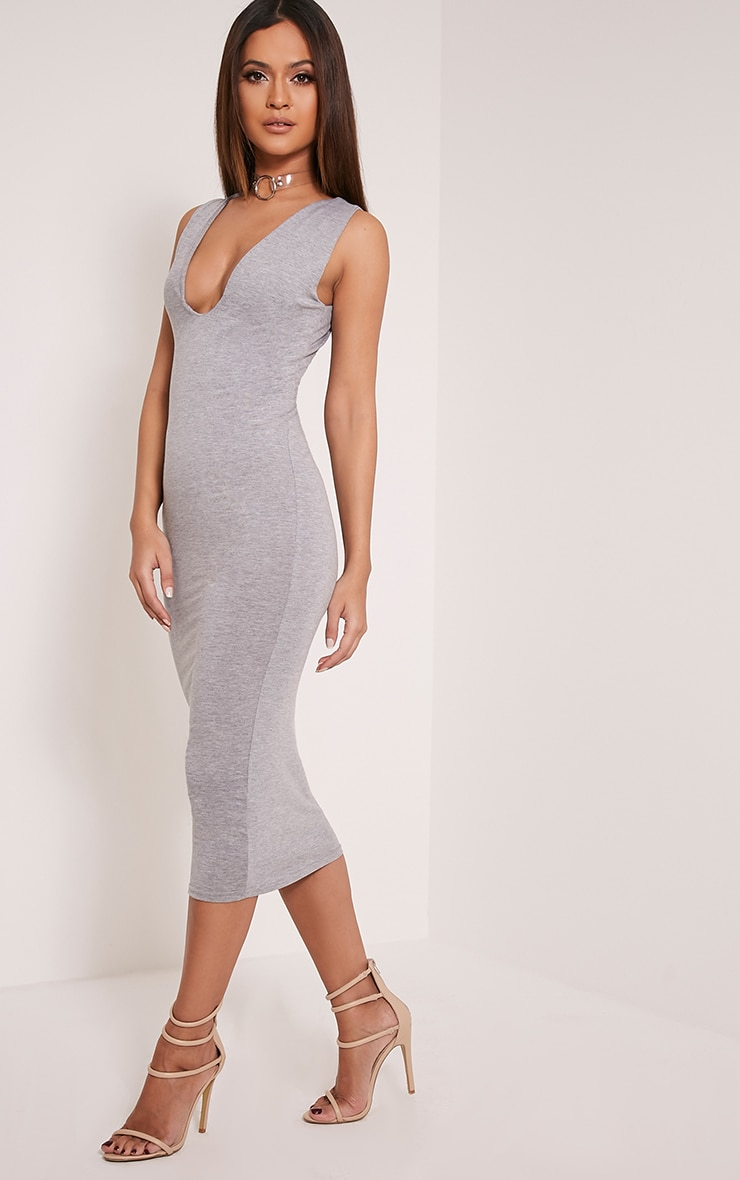 Basic Grey Plunge Jersey Midi Dress 4