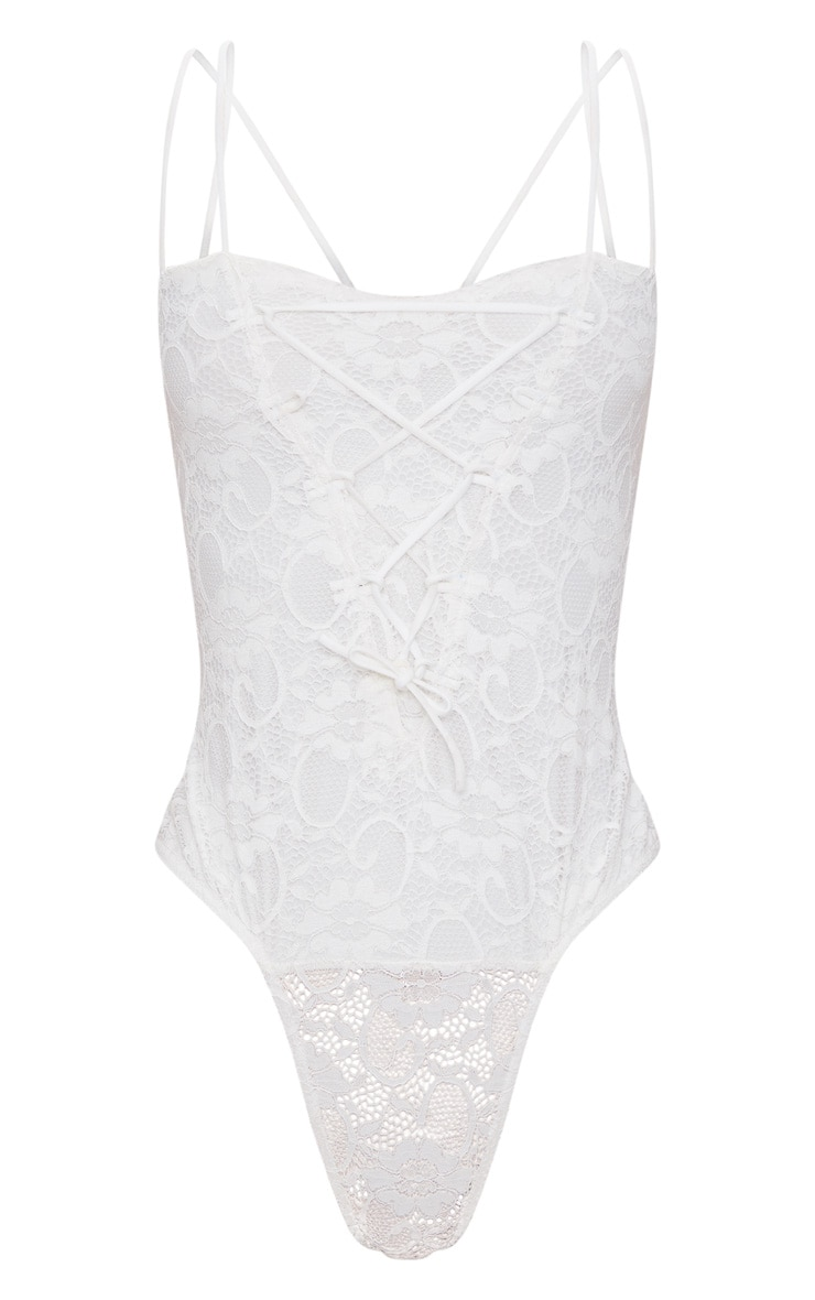 White Lace Detail Double Strap Straight Neck Thong Bodysuit 3