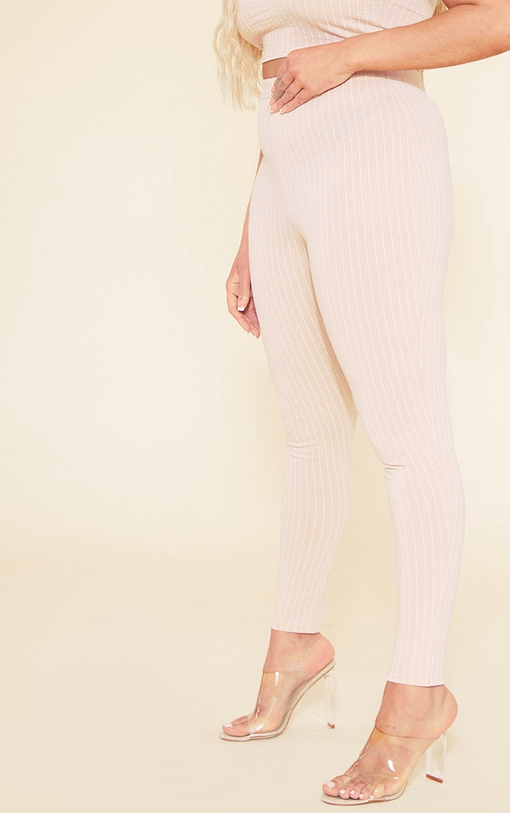 RECYCLED Plus Deep Nude Pinstripe Leggings 5