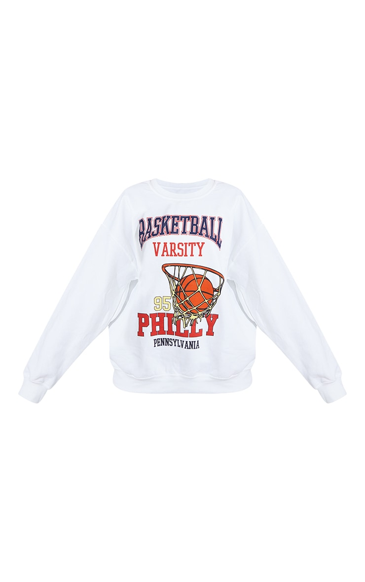 Cream Basketball Varsity Slogan Sweatshirt 5