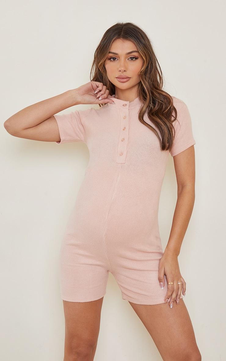 Maternity Blush Brushed Rib Polo Romper 1