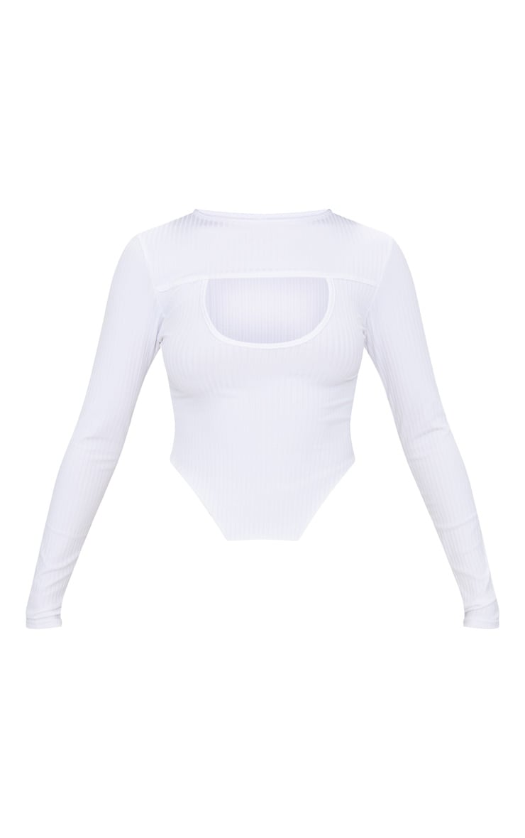 White Rib Cut Out Front Long Sleeve Crop Top  3