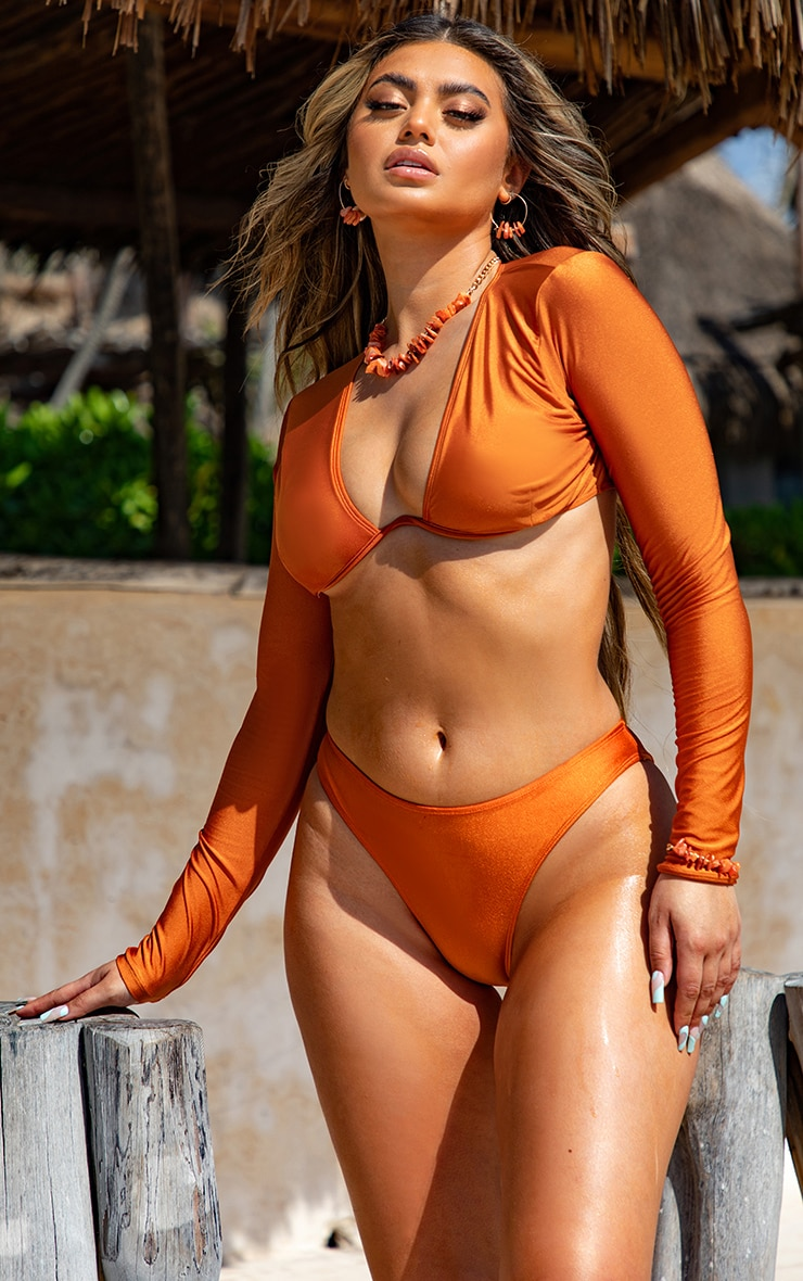 Orange Cheeky Bum Bikini Bottoms