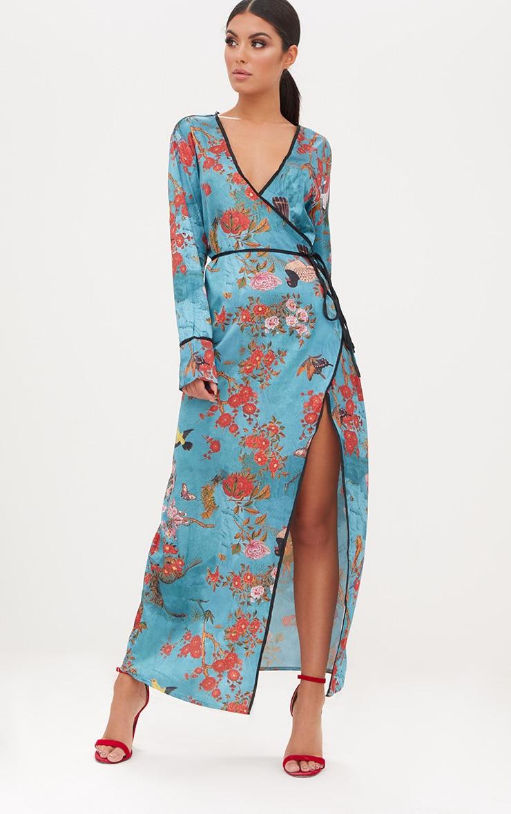 Teal Floral Satin Kimono Maxi Dress 3