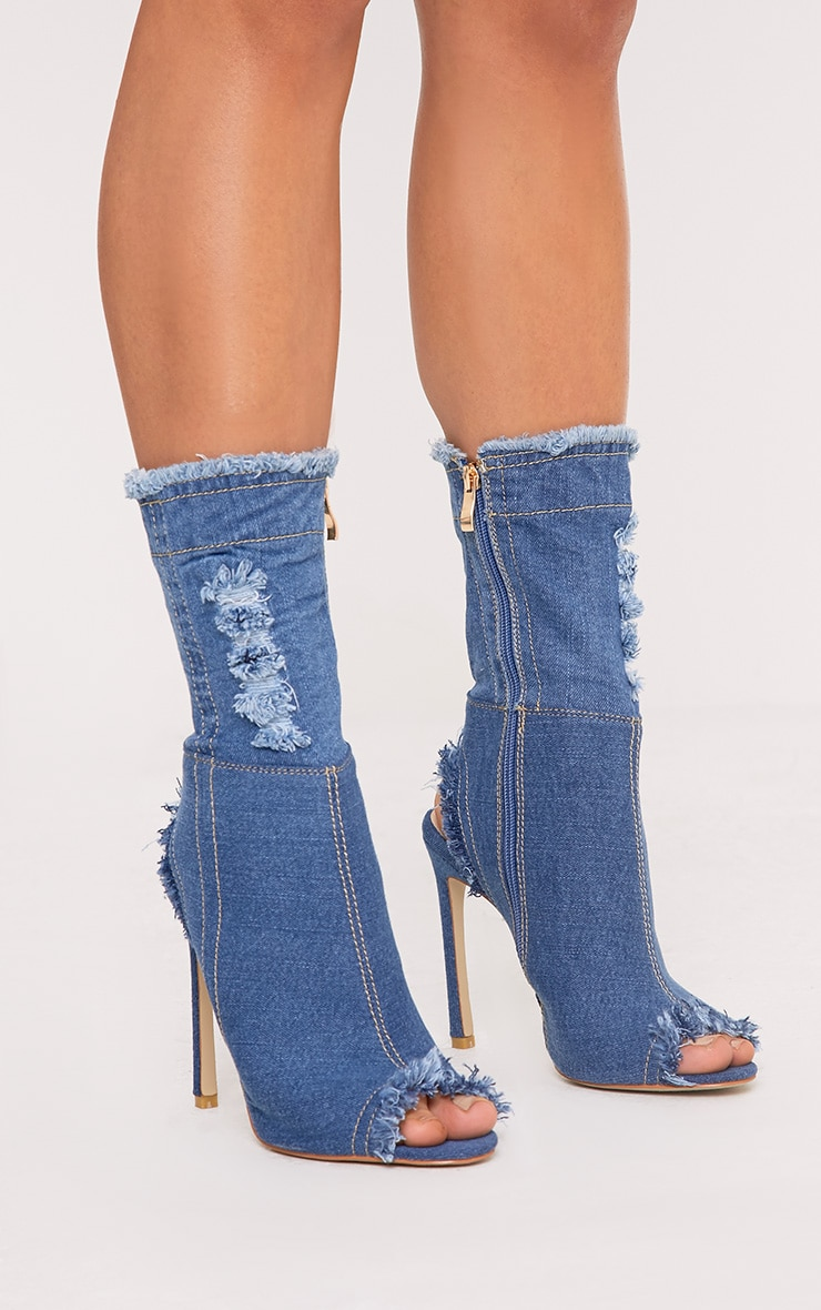 Anya Blue Ripped Denim Cut out Sock Ankle Boots 1