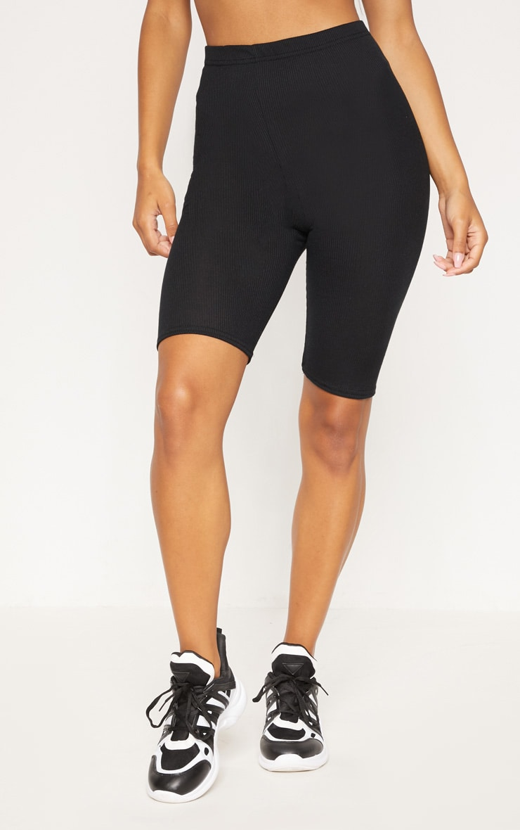 Black Rib Longline Cycle Short 2