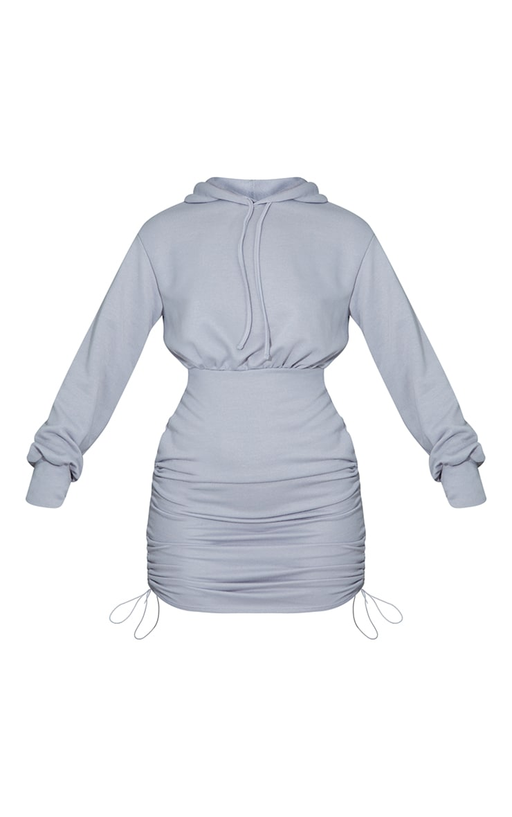 Grey Ruched Side Fitted Sweat Hooded Sweater Dress 5