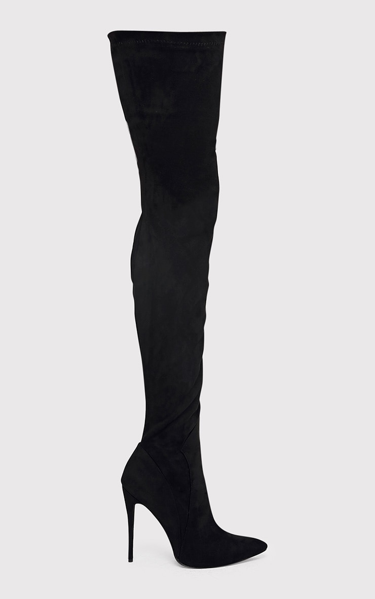 Emmi Black Faux Suede Extreme Thigh High Heeled Boots 2