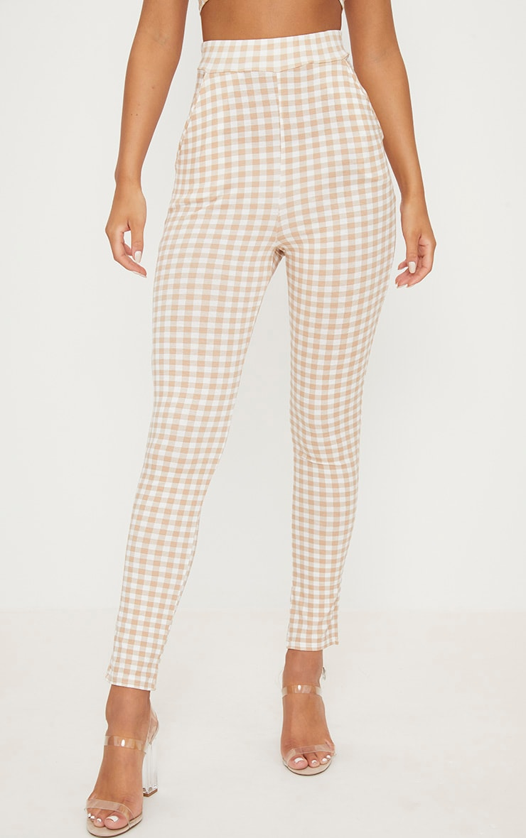 Nude Gingham Skinny Trousers 2