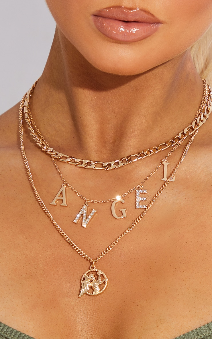 Gold Diamante Angel Layering Necklace 2