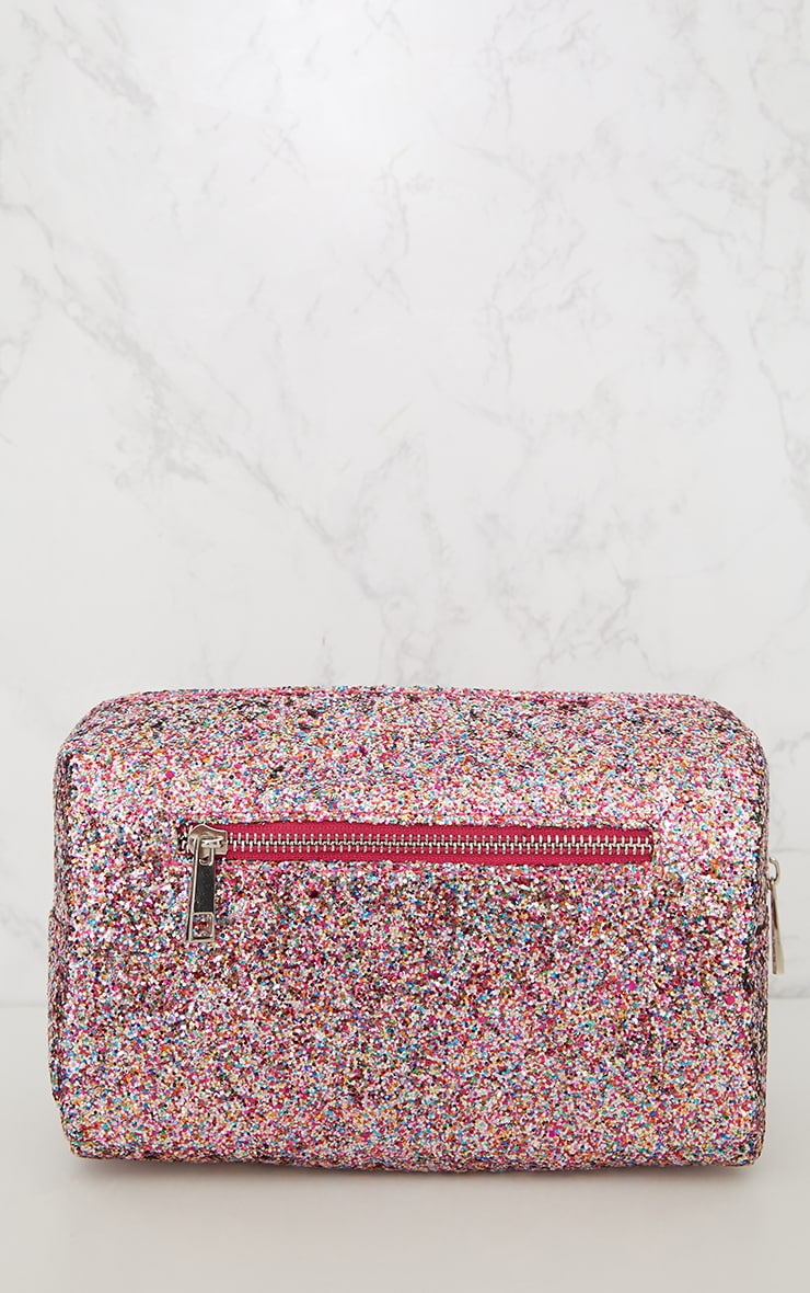 PRETTYLITTLETHING Multi Coloured Glitter Make Up Bag 2
